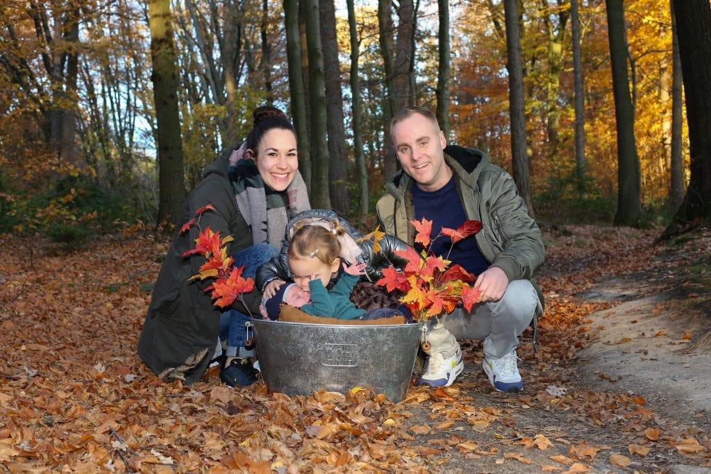 familiefoto in het bos
